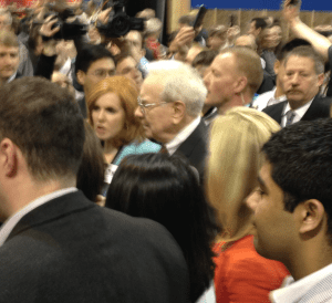 Warren Buffett at the Berkshire shareholder's meeting
